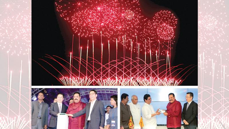 The Colombo Port City was opened for investors by Prime Minister Mahinda Rajapaksa yesterday with a fireworks spectacle. A stamp was also issued to mark the occasion. (Pix: Shan Rambukwella)