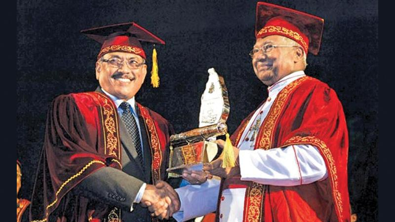 Conferment of the honorary degree Doctor of Letters (D. Litt) to the then Defence Secretary by the Chancellor of the University of Colombo on September 6, 2009.