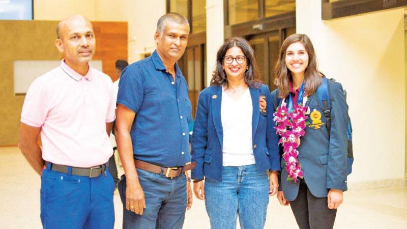 Grace on arrival at BIA with Sri Lanka Golf officials - (L-R) Chandana Weerasinghe, Sugath Getawakanda and Niloo Jayatilleke