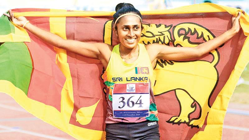 Soldiers don't quit. Nilani Ratnayake after winning the 1500m gold medal (Pix by Sameera Peiris)