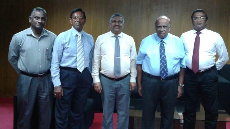 From left: Daminda Wijesooriya, Gregory de Silva (Chairman), KDS Ruwanchandra (Secretary of the Ministry of Sports), Elmo Perera (Attorney at Law) and Saman K. Gunawardena