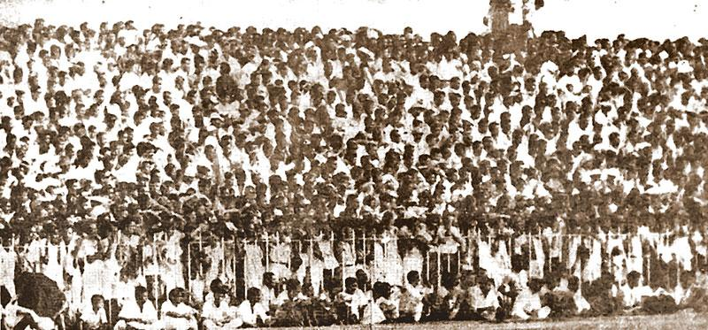 The mammoth crowd at the Sugathadasa Stadium