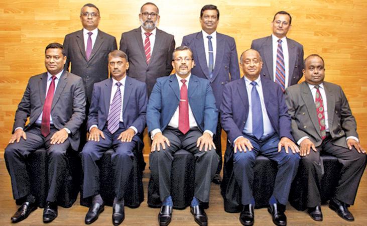 Council for 2019/2020 : Seated (from left): Chintana Goonetilleke (Treasurer), Sunil Siyasena (Vice President), Nalin Dharmasinghe (President), Nandalal Jayawardene (Secretary), Pritha J. Fernando (IPP). Standing from left: Sujeewa Vidanapathirana, Charith Mahendrarajah, Chandana Ariyadasa, and Ranjith Samarakoon.
