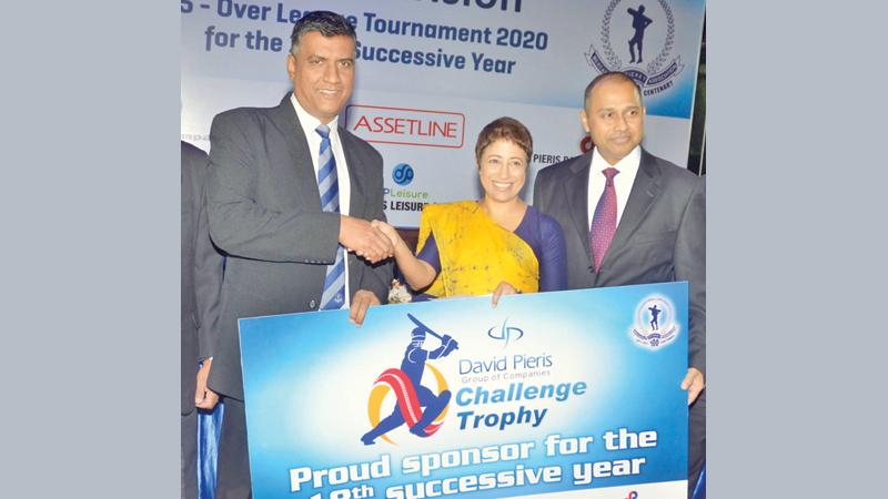 Executive Director, DPMC, Romani Parakrama (center),  CEO Naresh Tillekaratne and Chief Operations Officer presenting the sponsorship to MCA President, Rohana Dissanayake (Picture by Vipula Amerasinghe)