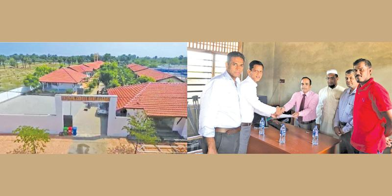 On left: The Hospice. (On right): LB Finance officials present the cheque
