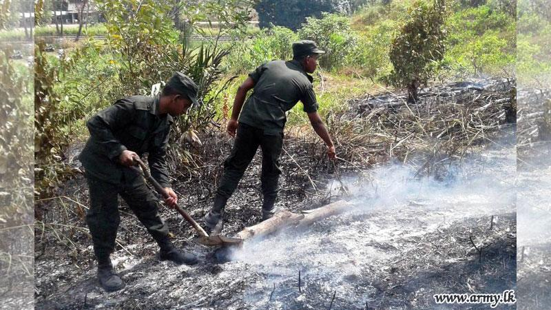 Army douses bushfire in Bothale -Mirigama
