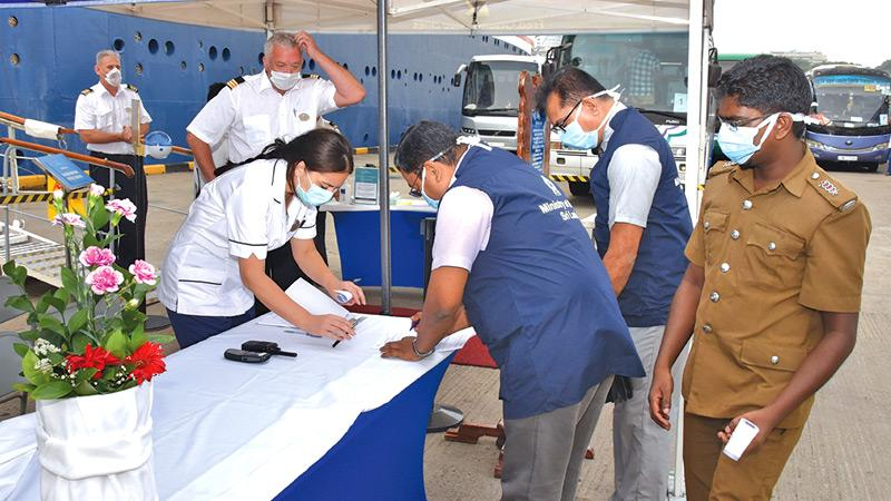 Crew members of vessels anchored at the Colombo Port were scanned before  disembarking.  Pic courtesy - Sri Lanka Ports Authority