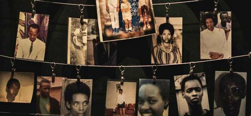 Photographs of some victims are displayed at the Kigali Genocide Memorial