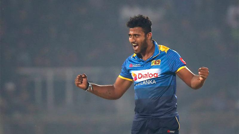 Shehan Madushanka celebrates taking three wickets in three balls in the file photo taken in January 2018