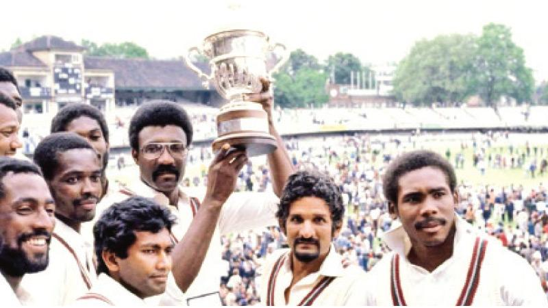 West Indies skipper Clive Lloyd lifts the first ever cricket World Cup in 1975