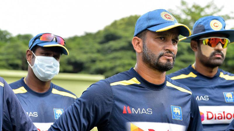Sri Lanka cricketers Angelo Mathews, Dimuth Karunaratne and Thisara Perera come together at a practice session in the hills of Pallekele, Kandy in preparation for what lies ahead