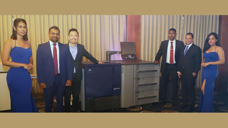From left:  Managing Director, APT, Udaya Hettiarachchi, Country Head of Sri Lanka, Konica Minolta, Francis Chua,  Director, Technical and Operations, APT,  Shalinda Perera and Head of Sales, Sri Lanka, Konica Minolta, Hanzala Samat at the launch.