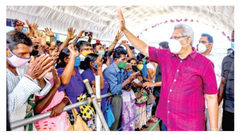 President Gotabaya  Rajapaksa greets crowds at an election rally