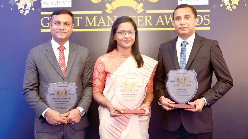Head of Manufacturing, Ceylon Cold Stores, Assistant Vice President JKH, Duminda Gunawardena Manager Marketing Planning and Strategy, Frozen Confectionery, Ceylon Cold Stores, Archchana Vekneswaran and Manager, Human Resources, Ceylon Cold Stores, Tharanga Dilhan were presented 'Great Managers Awards' at the Colombo Leadership Academy Great Manager Awards 2020.