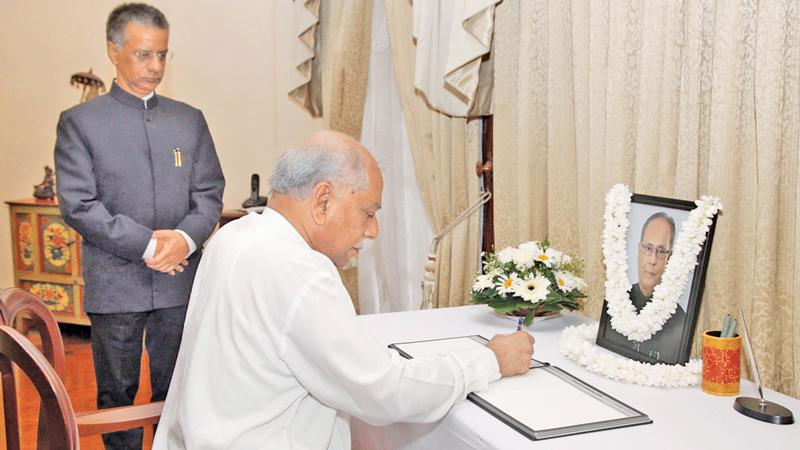 Foreign Minister Dinesh Gunawardena, State Minister Tharaka Balasuriya and Foreign Secretary Admiral Prof. Jayanath Colombage visited the Indian High Commission in Colombo to sign the condolence book on the demise of former Indian President Pranab Mukherjee.