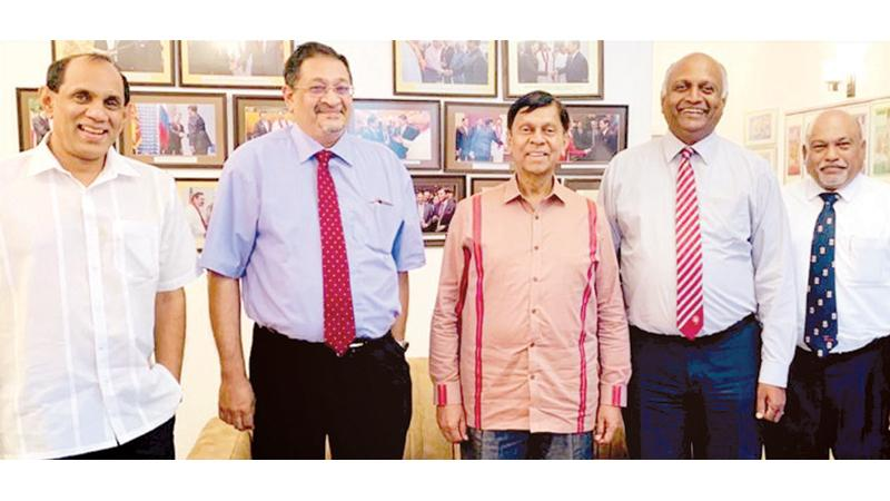 From left: Dinesh Dharmadasa, President, CA Sri Lanka, Manil Jayesinghe, State Minister Ajith Nivard Cabraal, Indrajith Fernando and Shirantha Peiris.