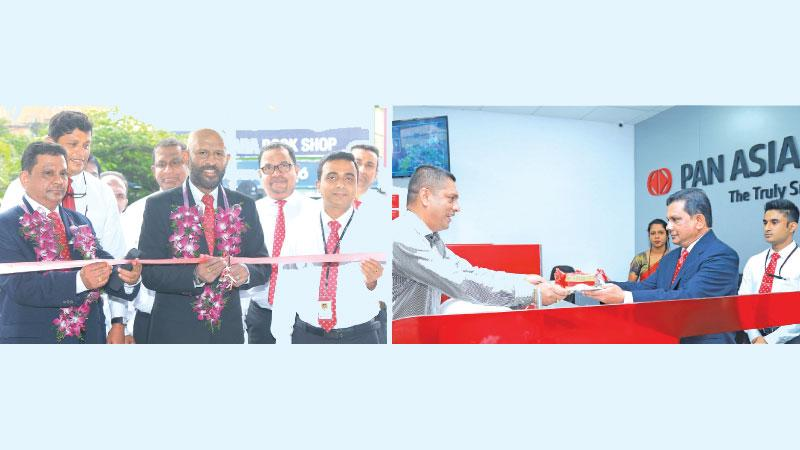 Naleen Edirisinghe Senior Deputy General Manager of Pan Asia Bank opens the branch. Also in the photograph from left: Upali Dharmasiri, Deputy General Manager Recoveries, Primal Vithara, Area Manager Colombo North, Shiyan Perera – AGM Retail Credit, Harsha Kurukulasuriya, AGM Operations and Administration and Nilantha Mahanama, Manager Pan Asia Bank Gampaha branch. (On right): Upali Dharmasiri, Deputy General Manager Recoveries of Pan Asia Bank receives the first deposit at the Gampaha branch opening.