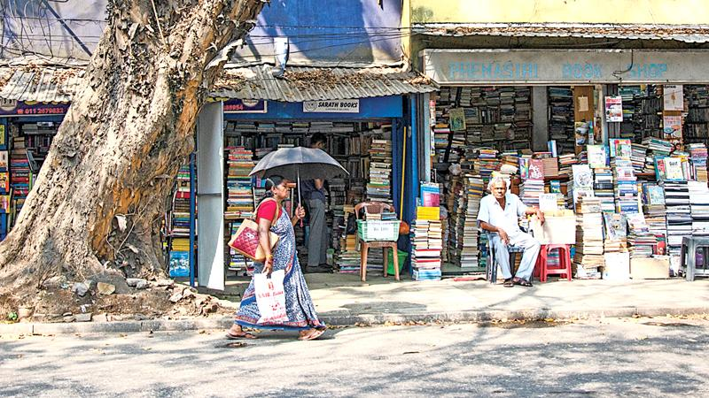 An array of bookshops along  D.R. Wijewardene Mawatha