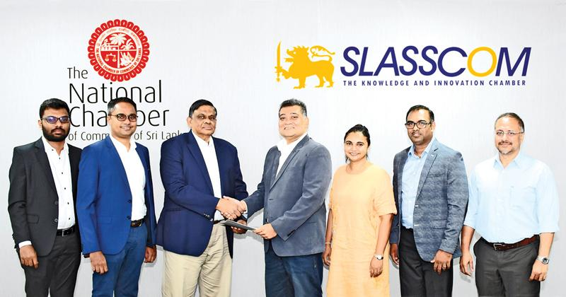 After signing the MoU. (From left): Hashantha Abewickrema, Business Development Manager FromSriLanka.com, Chamika Godamanna, Sub-Committee Chairman NCCSL, Asela de Livera, President NCCS, Channa Manoharan, Chairman SLASSCOM, Chamindā de Silva, Executive Director SLASSCOM, Nishan Mendis, Director SLASSCOM and Shiraz Lye, Director, SLASSCOM.