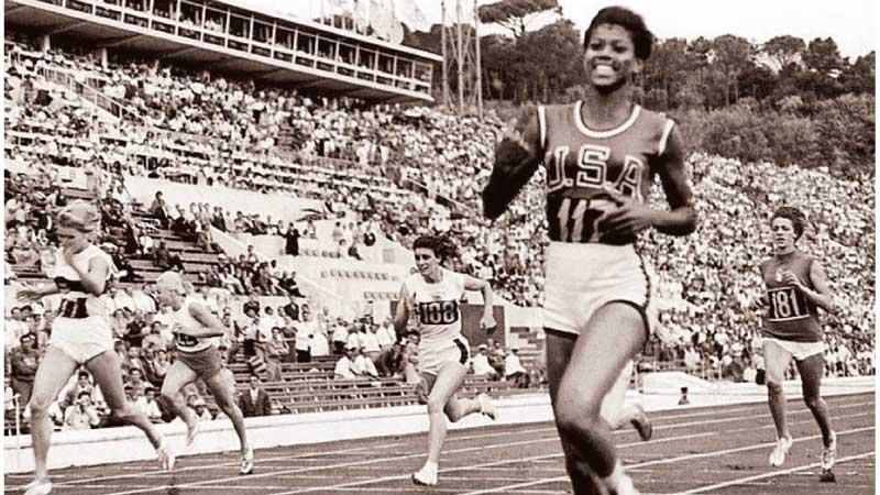 Wilma Rudolph of the United States winning the 100m Women