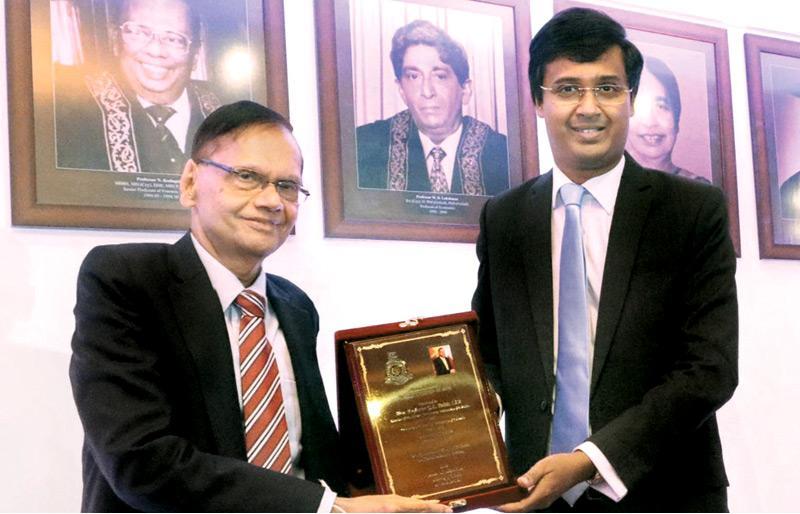 The Alumni Association of the University of Colombo felicitating Minister Prof. G. L. Peiris