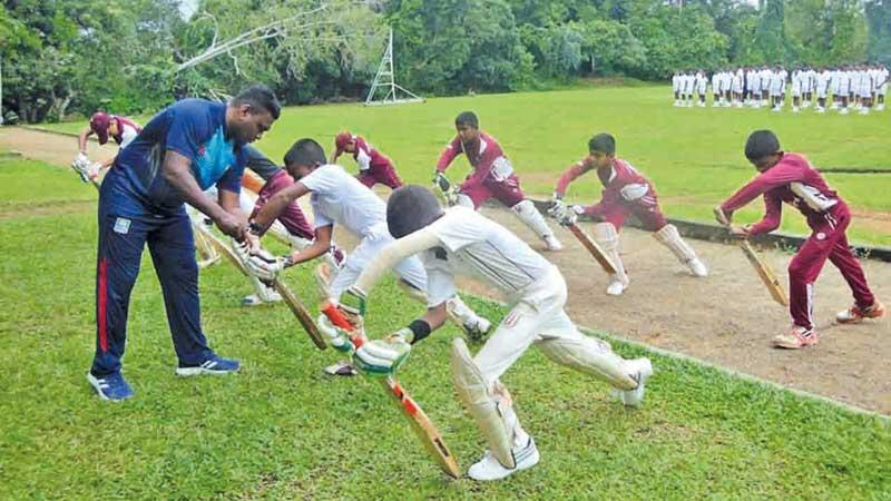Young cricketers at practices