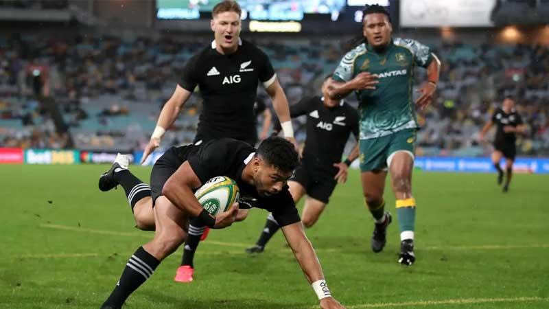 New Zealand's Richie Mounga crosses the line for a try as he scored 23 points in a 43-5 victory for the All Blacks to win the Bledisloe Cup for the 18th year in succession (bbcsport)