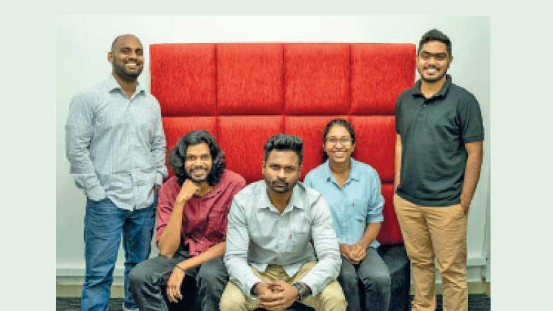 The core LoweDigital team (from left):  Raveen Liyanage, Nevinke  Navaratne, Kevin Kulatilake, Narthanie Serasinghe and Iqbal Moosa