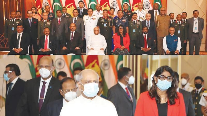 Foreign Minister Dinesh Gunawardena with Indian National Security Advisor Ajit Doval and Maldivian Defence Minister Mariya Didi arriving at the trilateral dialogue on maritime security cooperation at Hotel Taj Samudra, Colombo yesterday.