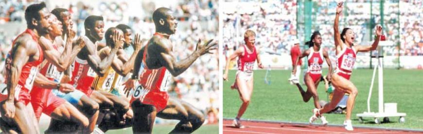 Ben Johnson reaching to cross the line well ahead of Carl Lewis in the 100m-Florence Griffith-Joyner was the world's fastest woman