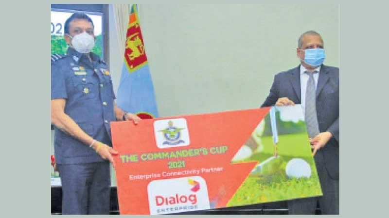 Chairman SLAF Golf Committee Air Commodore Prasanna  Ranasinghe (left) receiving the sponsorship for the Air Force Commander's Cup Golf Championship from Vice President Dialog Enterprise Navin Pieris (right) at the SLAF Headquarters on Tuesday
