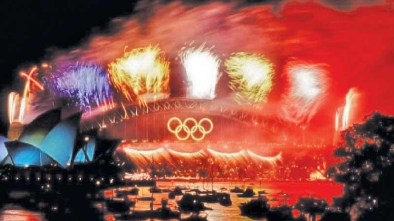 Olympic colours on the Sydney Harbour Bridge
