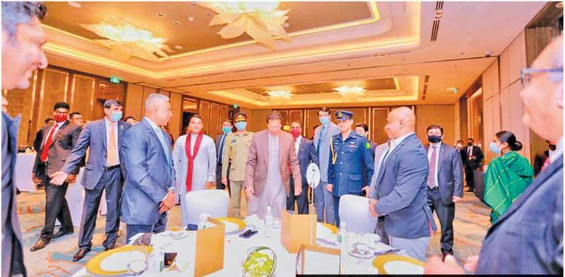 Imran Khan with former members of the Sri Lanka cricket team