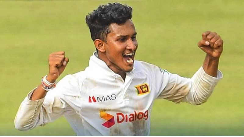 Praveen Jayawickrama celebrates his six wickets on debut