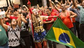 Demonstrators shout outside the state of Rio de Janeiro's legislative assembly building where lawmakers are discussing austerity measures in Rio de Janeiro, Brazil.