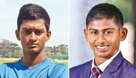 Kasun Abeyratne (Thurstan College Captain) and Kamindu Mendis (Richmond College Captain)