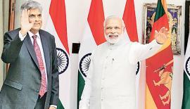 "Ranil Wickremesinghe and Narendra Modi  at ""Hyderabad House"""