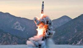An undated file photo released on 24 April by North Korean Central News Agency (KCNA) shows an 'underwater test-fire of strategic submarine ballistic missile' conducted at an undisclosed location. Photograph: KCNA/EPA