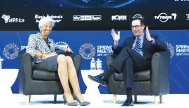 US Treasury Secretary Steven Mnuchin and IMF MD Christine Lagarde  in  conversation on the US economy, in Washington