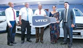 From left: Business Unit Manager, Mercedes-Benz Commercial Vehicle Sales, Shamal Fernando, Group CEO of DIMO, Gahanath Pandithage, Chairman and Managing Director of DIMO, Ranjith Pandithage presents the Mercedes–Benz Vito Van to Shangri-La's Hambantota Resort & Spa Sri Lanka.