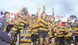 The jubilant Royal team after winning the first leg of the Bradby Shield and the Singer League Tournament (Pic Sunil Gunawardene - Kundasale Corr.)