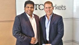 Duo World Inc. Founder and CEO Muhunthan Canagasooryam (left) with OTC Markets, Executive Vice President Jason Paltrowoitz.