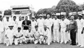 Colombo Masters Cricket Association and SSC Veterans teams prior to their annual encounter