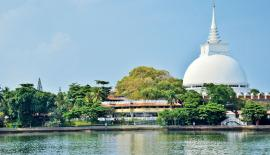 The magnificent Kalutara Bodhi Dagoba rises majestically on the bank of the Kalu Ganga