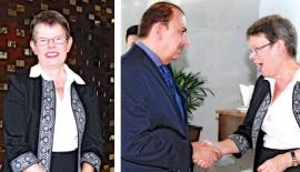 [Left]Canadian High Commissioner Shelley Whiting. [Right] UAE Ambassador Abdul Hamid Al Mulla bids farewell to the Canadian High Commissioner.