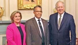 Prasad Kariyawasam with Ambassador Shannon and Assistant chief of protocol Gladys Boluda