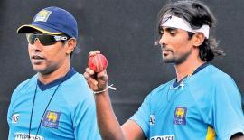 Chaminda Vaas with Sri Lanka fast bowler Nuwan Pradeep.