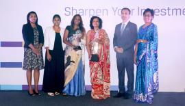 From left: Mifnaz Jawahar - Chairperson; CFA Sri Lanka Capital Market Awards 2017, Eshani Motha - Portfolio Assistant, Sonali Perera - Head of Ethics and Compliance, Christine Bandaranaike - Fund Manager JB Vantage Money Market Fund and CEO, Sharang Pant - Managing Director, Nielsen Sri Lanka, Rachini Rajapaksa - President; CFA Sri Lanka.