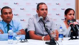 Chamila Bandara, (right) General Manager/COO Mountain Hawk Express(Pvt) addressing the media also in the picture are form left Avancka Herath, Vice Captain Royal Colombo Golf Club, Kumudu Gunasekera Vice  President AmCham Sri Lanka