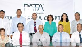 The new committee: Standing (from left): Cammy Gunasekera, Dimitri Cooray, Asitha Panabokke, Ratten Abdulhussein, Shamali De Vaz, and Ruan Samarasinghe. Seated (from left): Secretary of the PATA Sri Lanka Chapter, Lakshika Perera, Zahara Cader, Sega Nagendra, Vice Chairman Prabath Harshakumar, Chairman Denesh Silva, Vice Chairman Muaiyyed Idroos, and Imme. Past Chairman Hussain Jayah.
